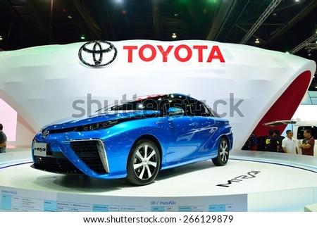 BANGKOK - March 26 : Toyota Mirai, Hydrogen engine Vehicle, on DisPlay at 36th Bangkok International Motor Show on March 26, 2015 in Bangkok, Thailand. - stock photo