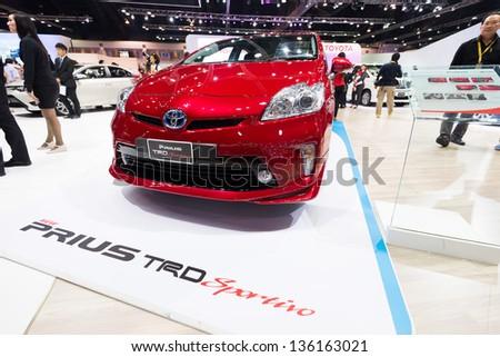 BANGKOK - MARCH 26 : Toyota Prius TRD Sportivo on display at The 34th Bangkok International Motor Show 2013 in Bangkok, Thailand. - stock photo