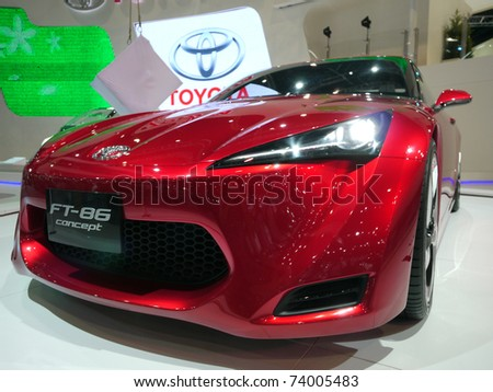 BANGKOK - MARCH 25: Toyota shows the FT-86 concept sports car at the 32nd Bangkok International Motor Show at Impact Challenger on March 25, 2011 in Bangkok, Thailand. - stock photo