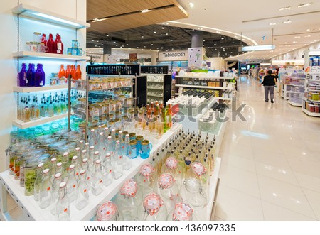 BANGKOK - MARCH 17, 2016: Various empty glass jars and bottles at a store in the Siam Paragon Mall. It is one of the biggest shopping centres in Asia.