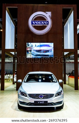 "BANGKOK - MARCH 24 : Volvo V60 T5 Special edition on display at The 36th Bangkok International Motor Show ""Art of Auto"" on March 24, 2015 in Bangkok, Thailand. - stock photo"