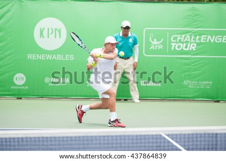 BANGKOK - May 22: James Duckworth (AUS) in the tournament list KPN renewable Bangkok opened in 2016 the final at Rama Gardens Hotel on May 22, 2016 in Bangkok, Thailand. - stock photo