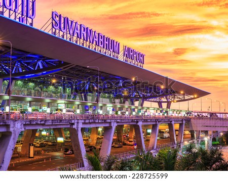 BANGKOK- MAY 17 : Suvanabhumi Airport at twilight in Bangkok on May 17, 2014. Suvarnabhumi airport is world's 4th largest single-building airport terminal.