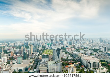 Bangkok Metropolis, aerial view over the biggest city in Thailand - stock photo