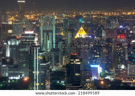 Bangkok Metropolis from Baiyoke Tower II on 20 September 2014 BANGKOK -Thailand Semtember 20: Baiyoke Tower II is the tallest building in Thailand ,