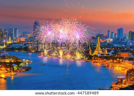 Bangkok newyear countdown fireworks at Wat Arun Temple, Bangkok, Thailand. - stock photo