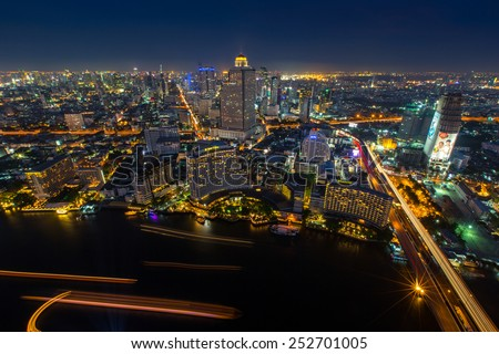 Bangkok night city view/ Bangkok  22 April 2014