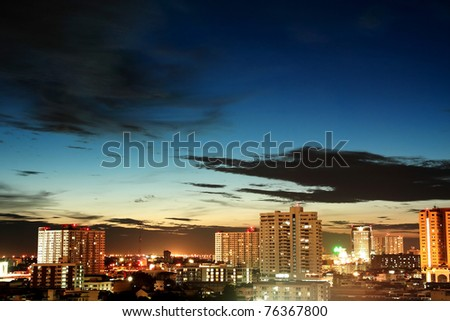 Bangkok Night Cityscape, Thailand - stock photo