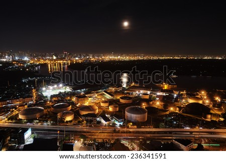 Bangkok night light panorama - stock photo
