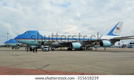 BANGKOK - NOV 18: Air Force One sits on the tarmac at Don Muang International Airport as US President Barack Obama begins a historic tour of Southeast Asia on Nov 18, 2012 in Bangkok, Thailand. - stock photo
