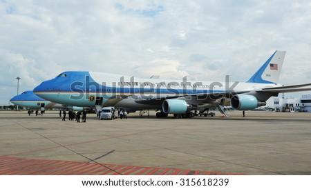 BANGKOK - NOV 18: Air Force One sits on the tarmac at Don Muang International Airport as US President Barack Obama begins a historic tour of Southeast Asia on Nov 18, 2012 in Bangkok, Thailand. - stock photo
