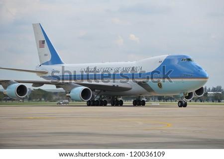 BANGKOK - NOV 18: Air Force One taxis on the runway at Don Muang International Airport as US president Barack Obama begins his historic Southeast Asian tour on Nov 18, 2012 in Bangkok, Thailand. - stock photo