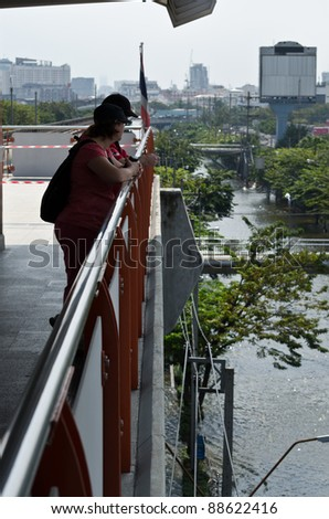BANGKOK - NOV 10: Flooded view of the city. Floods will have some effect on tourism, but recovery will be quick - perhaps as short as a month, said Martin J. Craigs, CEO of the PATA. Bangkok flooding, 10 November 2011 - stock photo