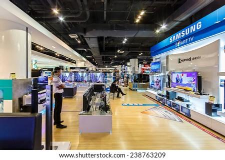 BANGKOK - NOV 15: Samsung TV display at The Mall Ngamwongwan on Nov 15, 2014 in Bangkok. Samsung is a South Korean multinational conglomerate company headquartered in Samsung Town, Seoul. - stock photo