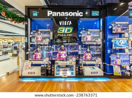 BANGKOK - NOV 15: Sony TV display at The Mall Ngamwongwan on Nov 15, 2014 in Bangkok. Panasonic is the world's fourth-largest television manufacturer by 2012 market share.