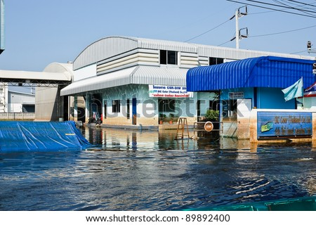 BANGKOK - NOV 25: The damage of the factory in Nava Nakorn Industrial  which is flooded for a period of 1 month - November 25, 2011 at Nava Nakorn Industrial Pathum Thani, Bangkok.
