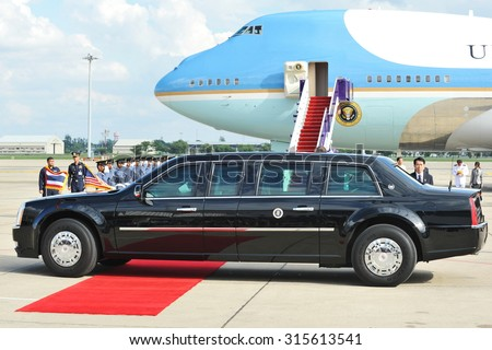 BANGKOK - NOV 18: The US Presidential State Car leaves Don Muang International Airport as President Barack Obama begins a historic SE Asia tour on Nov 18, 2012 in Bangkok, Thailand. - stock photo