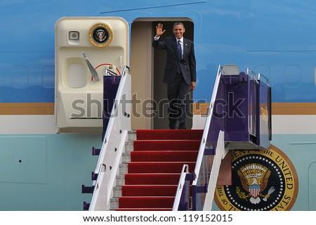 BANGKOK - NOV 18: US President Barack Obama arrives at Don Muang International Airport on the first day of his three-nation Southeast Asia tour on November 18, 2012 in Bangkok, Thailand. - stock photo
