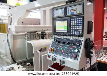 BANGKOK - NOVEMBER 22 :The controler panel of CNC machine   display at METALEX 2014 on Nov 22,2014 in BITEC ,Bangkok,  Thailand.  - stock photo