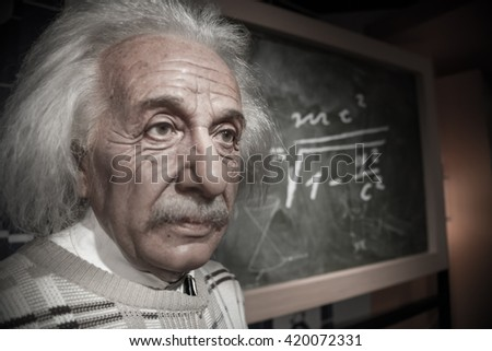 BANGKOK - OCT 28: A waxwork of Albert Einstein on display at Madame Tussauds on October 28, 2015 in Bangkok, Thailand. Madame Tussauds' newest branch hosts waxworks of numerous stars and celebrities. - stock photo