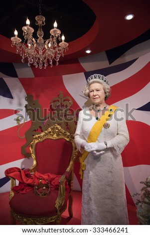 BANGKOK - OCT 28: A waxwork of Her Majesty Queen Elizabeth II on display at Madame Tussauds on October 28, 2015 in Thailand. Madame Tussauds' newest branch hosts waxworks of numerous celebrities. - stock photo