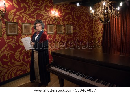 BANGKOK - OCT 28: A waxwork of Ludwig van Beethoven on display at Madame Tussauds on October 28, 2015 in Bangkok, Thailand. Madame Tussauds' newest branch hosts waxworks of numerous celebrities. - stock photo