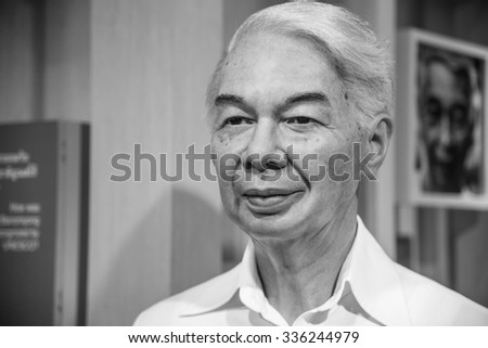 BANGKOK - OCT 28: A waxwork of M.R.Seni Pramoj on display at Madame Tussauds on October 28, 2015 in Bangkok, Thailand. Madame Tussauds' newest branch hosts waxworks of numerous stars and celebrities.