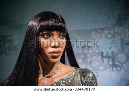 BANGKOK - OCT 28: A waxwork of Naomi Campbell on display at Madame Tussauds on October 28, 2015 in Bangkok, Thailand. Madame Tussauds' newest branch hosts waxworks of numerous stars and celebrities. - stock photo