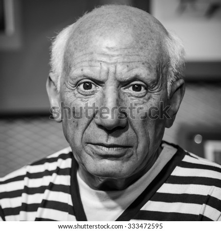 BANGKOK - OCT 28: A waxwork of Pablo Picasso on display at Madame Tussauds on October 28, 2015 in Bangkok, Thailand. Madame Tussauds' newest branch hosts waxworks of numerous stars and celebrities. - stock photo