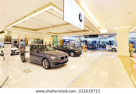 BANGKOK - Oct 9: BMW  xDrive 20d car on display at the Siam Paragon Mall on Oct 9, 2014 in Bangkok, Thailand. Siam Paragon is a one of the biggest shopping centres in Asia.  - stock photo