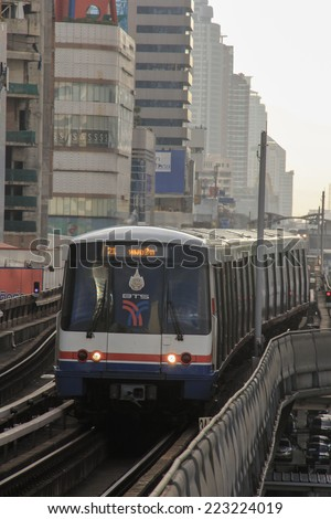 BANGKOK - October 10: A BTS Skytrain pulls into a station in the city centre on October 10, 2014 in Bangkok