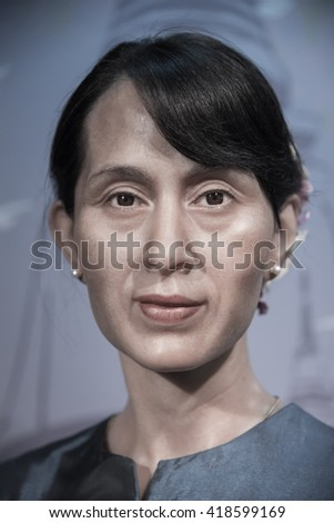 BANGKOK - OCTOBER 28: A waxwork of Aung San Suu Kyi on display at Madame Tussauds on October 28, 2015 in Bangkok, Thailand.