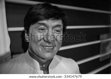 BANGKOK - OCTOBER 28: A waxwork of Jackie Chan on display at Madame Tussauds on October 28, 2015 in Bangkok, Thailand. Madame Tussauds' newest branch hosts waxworks of numerous stars and celebrities.