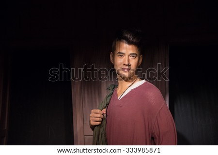 BANGKOK - OCTOBER 28: A waxwork of Mario Maurer on display at Madame Tussauds on October 28, 2015 in Bangkok, Thailand. Madame Tussauds' newest branch hosts waxworks of numerous stars and celebrities.