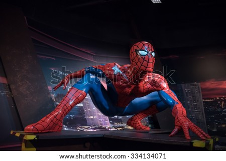 BANGKOK - OCTOBER 28: A waxwork of Spider-Man on display at Madame Tussauds on October 28, 2015 in Bangkok, Thailand. Madame Tussauds' newest branch hosts waxworks of numerous stars and celebrities. - stock photo