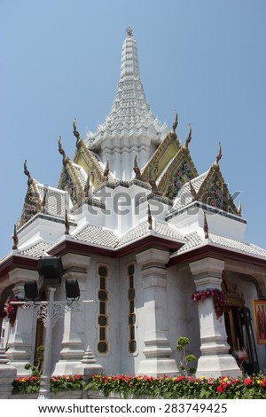 Bangkok's city pillar shrine was built after the establishment of the Rattanakosin Kingdom to replace the old capital of the Thonburi Kingdom during the reign of King Rama I of the Chakri Dynasty. - stock photo