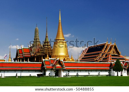 Bangkok's most famous landmark was built 1782. The palace conclud several impressive buildings including Wat Phra Kaeo (Temple of the Emerald Buddha) A royal chapel - stock photo
