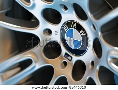 BANGKOK - SEPTEMBER 25: A BMW's wheel on display at BMW XPO 2011 on September 25, 2011 at Siam Paragon in Bangkok, Thailand. - stock photo