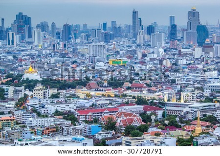 Bangkok skyline from Wat Saket (Golden Mount) and Landmark in Bangkok, Thailand - stock photo