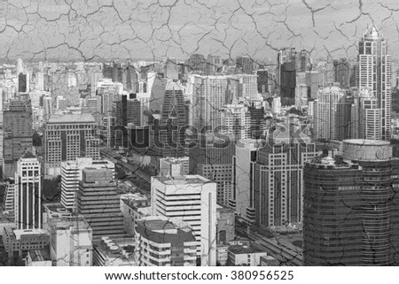 Bangkok skyline Thailand and cracked clay background. Concept Global Warming. Black and white. - stock photo