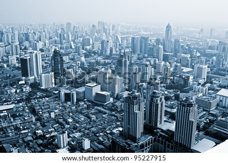 Bangkok skyline, Thailand. Blue toned image. - stock photo