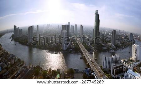 Bangkok skyline with city before sunset - stock photo