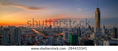 Bangkok sunrise view with main traffic high way - stock photo