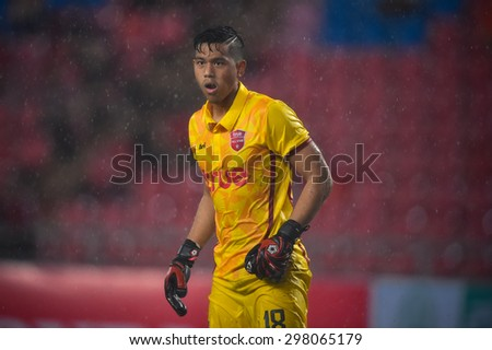 BANGKOK THAI JULY 14 :Goalkeeper Anusith Termmee of Thai All Stars in action during the international friendly match Thai All Stars and Liverpool FC at Rajamangala Stadium on July14,2015 in,Thailand. - stock photo