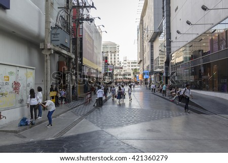 BANGKOK THAILAND - APR 24 : Unidentified people on walking street at side of Siam square one in Siam square on april, 24, 2016, thailand. siam square is famous shopping place of Bangkok