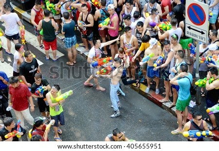 Bangkok,Thailand - April 14,2016 : A crowds of Thai people and foreigners is cerebrating Water Festival at Bangkok.