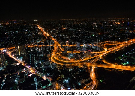 BANGKOK, THAILAND - APRIL 27, 2015: aerial view of expressway in Bangkok, Thailand. - stock photo