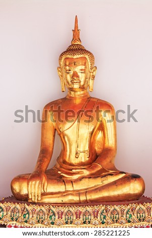 Bangkok, Thailand - April 13, 2015: Buddha statue inside the Wat Pho temple, known also as the Temple of the Reclining Buddha