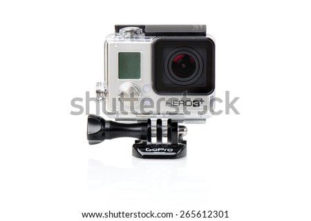 BANGKOK, THAILAND - APRIL 01, 2015: GoPro HERO3+ Black Edition in housing isolated on white background. GoPro is a brand of cameras, often used in extreme action video photography.