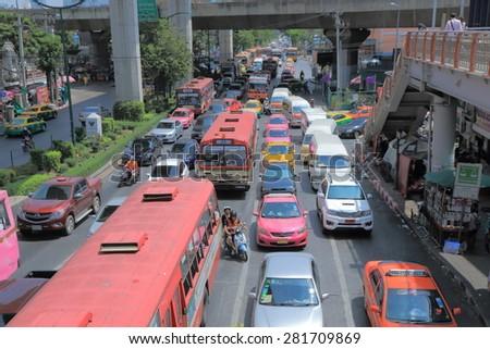 BANGKOK THAILAND - APRIL 19, 2015: Heavy traffic in Bangkok city centre. Bangkok is famous for its heavy traffic congestion.  - stock photo